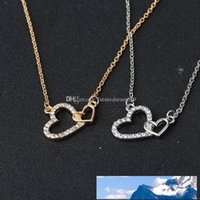 New Women Luxury Jewelry Love Necklaces Valentine's Day Wedding Jewelry Double Heart Pendant Necklace Free Shipping