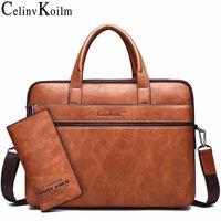 "Celinv Koilm Men's Briefcase Bags For 14"" Laptop Business Bag 2Pcs Set Handbags High Quality Leather Office Shoulder Bags Tote 200918"