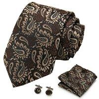 S118 Мужчины Tie Шелковый Галстук Paisley плед Brown Галстуки для мужчин High Quality платков Запонки Set Мужская Свадьба Платок Tie Set