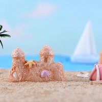 Oggetti decorativi Figurine Miniature Beach Beach Spiaggia Ocean Series Acqua Caratteristica Secchio Sand Scultura Castello in resina Materiale Materiale Decorat