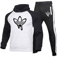 جديد مصمم رياضية أزياء الرجال الرياضة اللون اللون كبير الحجم هوديي المرأة الرياضة هوديي + sweatpants عارضة بأكمام طويلة البلوز الأعلى