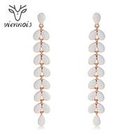 Viennois 섬세한 긴 잎 드롭 펜던트 귀걸이 여성용 에나멜 로즈 골드 다니다 귀걸이 술 패션 쥬얼리