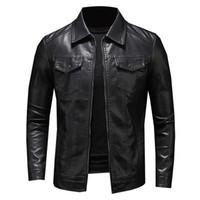 2020 дизайн чувство мужская кожаная куртка мужская мульти-карман мотоцикл меховой куртки мужские пальто овчины пальто зимнее пальто