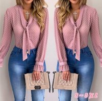 패션 - 여성 블라우스 패션 긴 소매 V 넥 핑크 셔츠 쉬폰 사무실 블라우스 슬림 캐주얼상의 플러스 사이즈 S-5XL