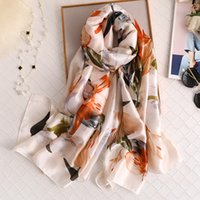 Sciarpe Estate Donne Sciarpa Seta Sciarpa Beach Hijab Scialli e Wraps 2021 Stampa floreale Femmina Foulard Echarpe Designer Bandana