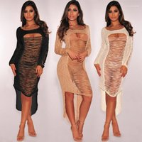 Out Designer Bodycon Dress Swimwear Clothes Playsuits Sexy Bikini Cover-ups Summer Women Solid Hollow