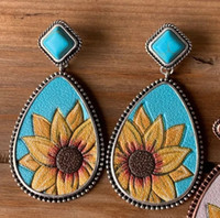 Turquoise Sunflower Earring Vintage Water Drop turquoise Ear...