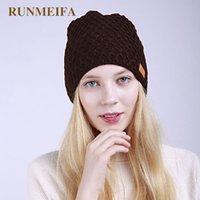 Mütze / Schädel Caps Runmeifa 2021 Frauen Kinted Plaid Hut Skullies Winter Warme Acrylmützen Mütze für Frauen Bonnet Beanie Weibliche Hüte