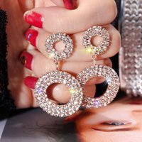 Coréia do Sul S925 Silver Needle Europa E América Exagero geometria brincos círculo de mulheres frescos Versátil Set bri