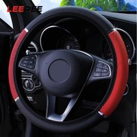 LEEPEE 범용 안티 슬립 자동차 스티어링 휠 커버 PU 가죽 스티어링 커버 37-38cm 직경 자동차 스타일링