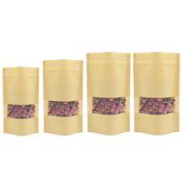 60pcs / set Bolsa de soporte encima del papel de Kraft de cierre, con transparentes Paquetes Ventana Bolsa regalo