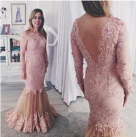 Elegante sereia cor-de-rosa rendas noite vestidos de noite sexy ilusão sem encosto manga comprida mulheres frisadas mulheres festa desgaste formal vestidos formais