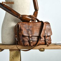 PNDME vintage luxury genuine leather men's briefcase casual high-quality soft natural real cowhide laptop handbag messenger bags