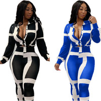 Striped Printed Designer Womens Pants Suits Sexy Long Sleeve...