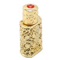 Botella de perfume 3ML metal retro estilo árabe botella de aceite esencial de botella del envase de cristal real de boda del regalo de la decoración del partido