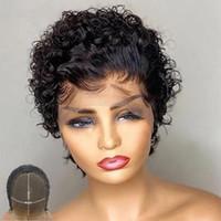 الدانتيل الباروكات atina pixie قص شعر مستعار الإنسان الشعر الطبيعي اللون قصير مجعد بوب 4x4 إغلاق قبل التقطه عقدة ابيض ريمي