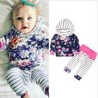 Новорожденный младенец ребёнки Цветочные Полосатый Hoodie Топы + брюки 2PC техники Одежда Set Gray Осень Зима Детская одежда Наборы