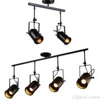 Vintage industriale riflettore del soffitto, Retro Minimalista 4 Lamp Black Metal pista apparecchio di illuminazione per la luce della pista E27 Ufficio