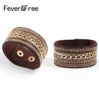 Joyería FeverFree tendencia de la moda de las mujeres del Rhinestone de la barra del partido pulsera de las pulseras de los brazaletes de Boho Wrap Pulseira