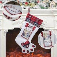 Рождественский чулок Собака Paw с фото Holder Xmas Tree Ornament чулки висячие носки Главная Рождественские украшения партии Supplies LJJP542
