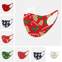 Weihnachten Mode Gesichtsmaske Erwachsene Weihnachtsbaum Weihnachtsmann Druck Masken Cartoon Facemasks Ice Baumwolle atmungsaktiv Waschbar Mouth-Muffel D91008
