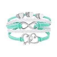 Infinity Double Heart Bracle Bractelet Weave Кожаные обертывающие браслеты многослойные женщины мода ювелирные изделия будут и песчаные