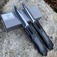 New carbon fiber knfie EDC A163 Single double blade 440Csteel Auto matic Camping Self-defense Knife Multifunction tools