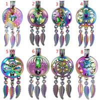 Nuovo Rainbow Color Ley Mox Dream Catcher Beaty Feather Beads Cage Locket Ciondolo Diffusore Diffusore Profumo Oli Essenziali Diffusore Boutique Regalo