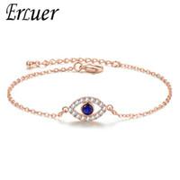 Mode Rose Gold Silber Farbe Evil Eye Kristall Zirkon Kette Link Armbänder Armreifen Für Frauen Kristall Schmuck Geschenk
