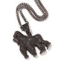 Hip Hop piedra de la CZ Bling pavimentada hacia fuera helado del gorila de los colgantes del animal Hombres rapero joyería Oro Negro Color Plata