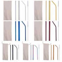 Imposti in acciaio inox paglia colorate cannucce con spazzola riutilizzabile metallo paglia a barretta tazza bicchieri accessori forniture YFA2527