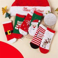 아기 소녀 크리스마스 양말 산타 클로스 곰 눈송이 엘크 패턴 농축 크리스마스 양말 어린이 어린이 소년 테리 양말 양말 D9808