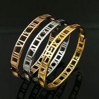Exquisite Titan Stahl Schmalversion Römische Ziffern Hohl Snap Bangles Hot Mode Edelstahl Schmuck Frauen Armbänder