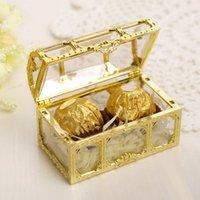 Şeker Kutusu Hazine Sandığı Şeklinde Düğün Favor Hediye Kutusu Hollowed aşımı Şeffaf Favor Sahipleri Avrupa tarzı Kutlama Muhteşem Parlayan