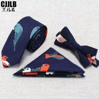 Mens Ties High Quality 3 PCS Men NeckTie Set Bowtie Slim Necktie Skinny Narrow Men Tie Dress Handkerchief Pocket Square Suit Set