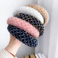 여성 럭셔리 손으로 만든 크리스탈 구슬 스폰지 헤어 밴드 신부의 웨딩 파티 머리띠 EEA2035 다채로운 크리스탈 헤드 밴드