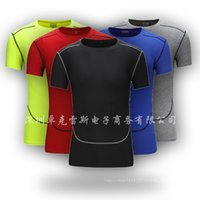 wholesale 2020 PRO tights Base Tshirt male trainning suit Exercise jersey Solid short sleeves fitness ultra-thin T-shirt tops