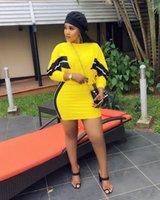 Для женщин с длинным рукавом платья женщин конструктора два частями платья моды Щитового короткое платье 2PCS наборов Casual