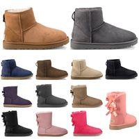 أعلى جودة مصمم أحذية النساء أحذية الثلوج الكلاسيكية الكاحل قصيرة القوس الفراء التمهيد لفصل الشتاء الأسود كستناء حجم الأزياء 36-41