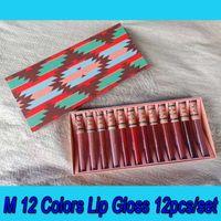 .Hot Navidad M regalo del maquillaje 12 del color de los lápices labiales mata líquida del kit de cosméticos 12pcs / set brillo de labios Conjunto en el envío libre