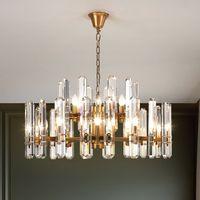 Pós-moderna K9 cristal luxuoso LED Candelabro Iluminação Jantar Sala Lobby Grande pendurado lâmpada E14 Villa Lustres Quarto