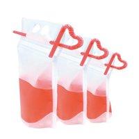 NEW Klar Getränk Taschen Taschen Zipper Stand-up Kunststoff-Trinktasche mit Stroh mit Halter Reclosable hitzebeständig Saft Kaffee Flüssigkeit Taschen