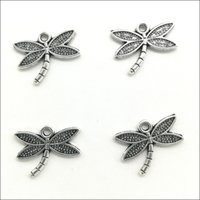100pcs / Lot Dragonfly Alloy Charms Pendants Retro Jewelry Making DIY Keychain Ancient Silver Pendant For Bracelet Earrings 14x18mm