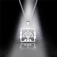 Anhänger Halsketten Baum des Lebens Titan Stahl Halskette Frauen Wunsch Einfache Mode Edelstahl Großhandel