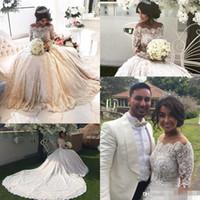 2021 جديد الأميرة الكرة ثوب فساتين الزفاف طويلة الأكمام خارج الكتف بلورات مطرز الفاخرة الرباط أثواب الزفاف
