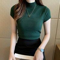 Pearl Diary femmes tricot Tops manches courtes T-shirt à col en tricot couleur unie style de base Slim Fit Débardeurs pour les femmes