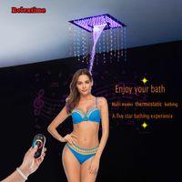새 스타일 크리스탈 석영 시리즈 Bluetooth 연결 노즐 라이트 LED 천장 샤워 헤드는 강우 폭포 DJ4201 탑재 된 임베디드