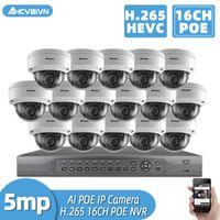 H.265 + 16ch 4K 5MP 8CH POE CCTV نظام NVR كيت للماء AI الذكية Infared الأمن كاميرا poe فيديو مراقبة مجموعة Onvif