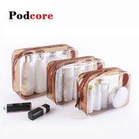 Bolsas cosméticas Casos PVC simple bolsa de maquillaje inodoro dorado impermeable viaje bolsa portátil lavado azul