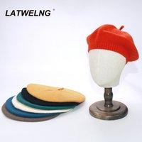 Berets 7 Colors Fashion Elastic Ladies Beret Female Dress Up Crochet Warm Pumpkin Cap Painter Hat Suitable 55-60cm Head Size B010